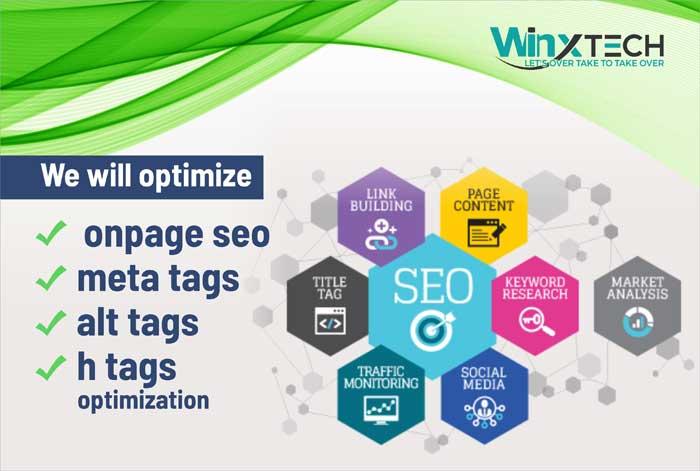 We Will Optimize Onpage SEO, Meta Tags, Alt Tags, H Tags Optimization -WINX Technologies